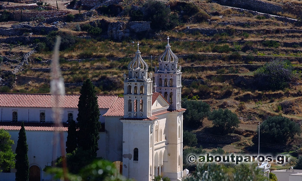 The church of Agia Triada with the beautiful belfry in Lefkes